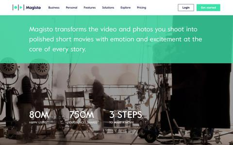 Screenshot of About Page magisto.com - About Us | The Smartest Online Video Editor by Magisto - captured May 31, 2018