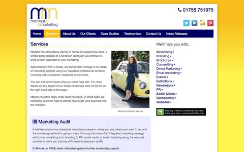 Screenshot of Services Page manifestmarketing.co.uk - Services for your Business - Manifest PR and Marketing - captured Nov. 2, 2014