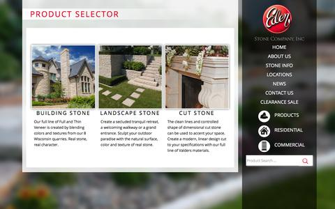 Screenshot of Products Page edenstone.net - Eden Stone Products | Eden Stone Company, Inc | 800-472-2521 - captured Jan. 26, 2016