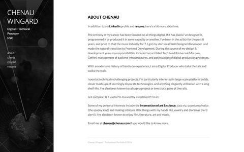 Screenshot of About Page tumblr.com - Chenau Wingard : Professional Portfolio - captured Dec. 14, 2018