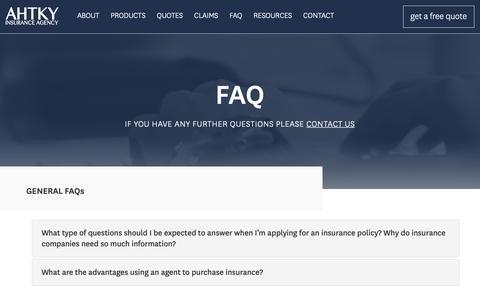 Screenshot of FAQ Page ahtky.com - FAQ | AHTKY Insurance Agency - captured Oct. 2, 2018