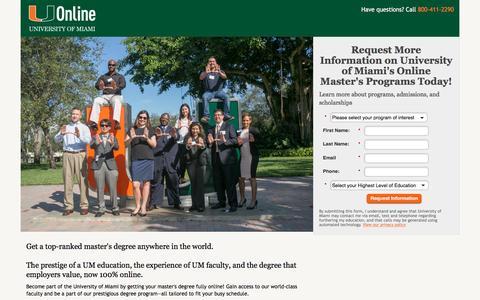 Screenshot of Landing Page miami.edu - University of Miami   UOnline - captured April 27, 2017