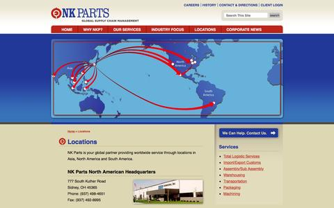 Screenshot of Locations Page nkparts.com - Locations | NK Parts | Global Supply Management - captured Feb. 13, 2016