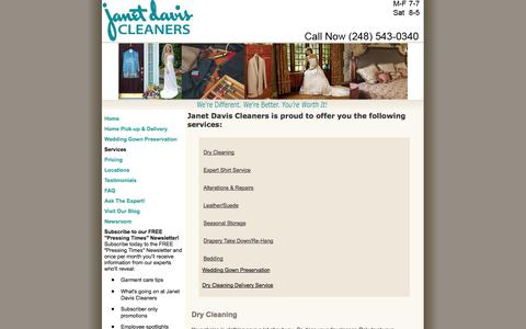 Screenshot of Services Page janetdaviscleaners.com - Detroit Dry Cleaners - captured Oct. 6, 2014