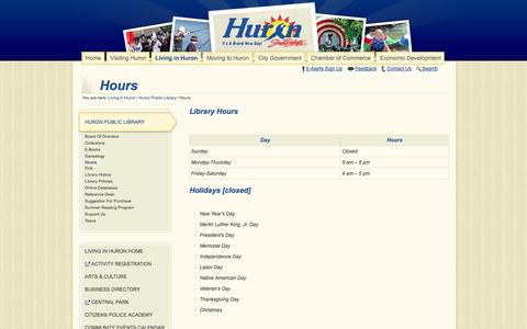 Screenshot of Hours Page huronsd.com - Hours   City of Huron, South Dakota - captured Oct. 2, 2014
