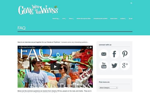 Screenshot of FAQ Page gonewiththewynns.com - FAQ for the Wynns   Gone With The Wynns - captured Sept. 19, 2014