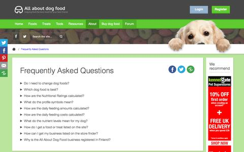 Screenshot of FAQ Page allaboutdogfood.co.uk - All About Dog Food FAQ - captured Oct. 2, 2019