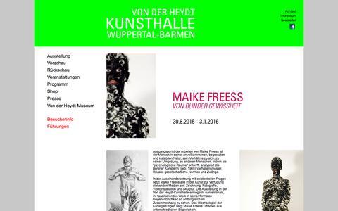 Screenshot of Home Page von-der-heydt-kunsthalle.de captured Oct. 9, 2015
