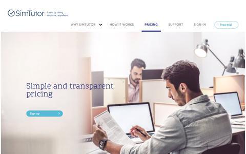 Screenshot of Pricing Page simtutor.com - Pricing - SimTutor - captured July 27, 2018