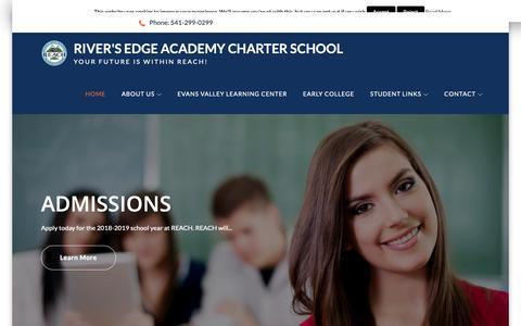 Screenshot of Home Page reach-school.org - REACH - River's Edge Academy Charter School - captured Oct. 20, 2018