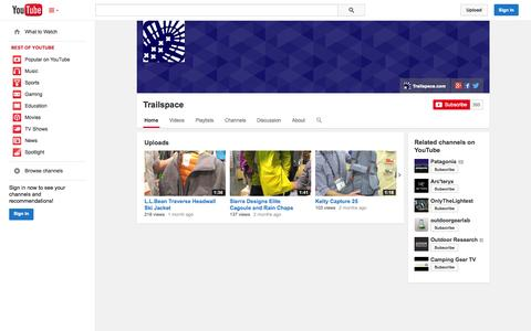 Screenshot of YouTube Page youtube.com - Trailspace  - YouTube - captured Oct. 26, 2014