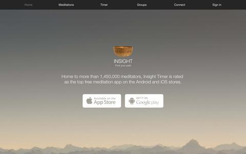 Screenshot of Home Page insighttimer.com - Insight Timer - The most popular free meditation app | Insight Timer - captured Jan. 24, 2017