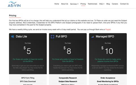 Screenshot of Pricing Page abvinbpo.com - Pricing – AbVin Ventures - captured Oct. 2, 2018
