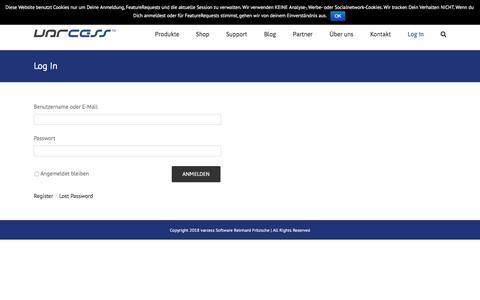 Screenshot of Login Page varcess.com - Log In – varcess - captured June 27, 2018