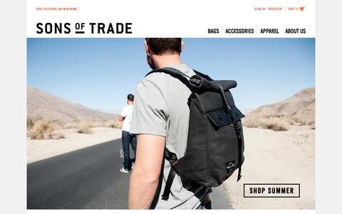 Screenshot of Home Page sonsoftrade.com - Sons Of Trade Mens Bags - captured Aug. 16, 2015