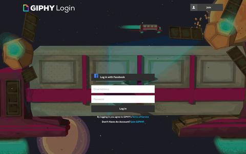 Screenshot of Login Page giphy.com - Login | GIPHY - captured Sept. 16, 2018