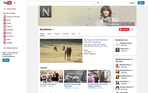 Screenshot of YouTube Page youtube.com - Nordstrom  - YouTube - captured Oct. 26, 2014