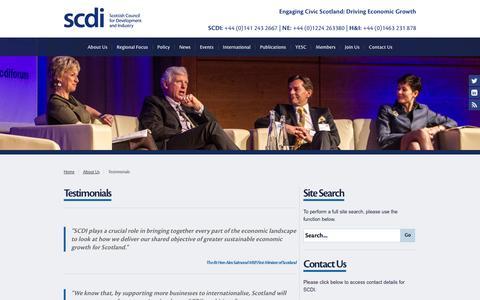 Screenshot of Testimonials Page scdi.org.uk - Testimonials - captured Oct. 4, 2014