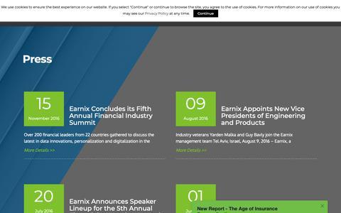 Screenshot of Press Page earnix.com - Press - 3/25 - Earnix - captured April 10, 2019