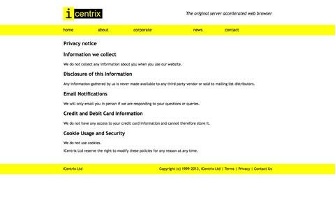Screenshot of Privacy Page icentrix.co.uk - Privacy Policy | iCentrix Ltd - captured Aug. 6, 2016
