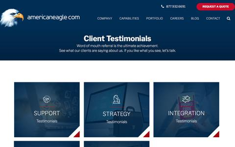 Screenshot of Testimonials Page americaneagle.com - Testimonials | Americaneagle.com - captured March 1, 2018