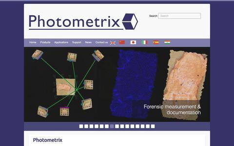 Screenshot of Home Page photometrix.com.au - Photometrix - Photometrix Photogrammetry Software - captured Dec. 8, 2018