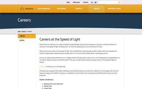 Screenshot of Jobs Page acacia-inc.com - Careers - Acacia Communications - captured Aug. 7, 2017