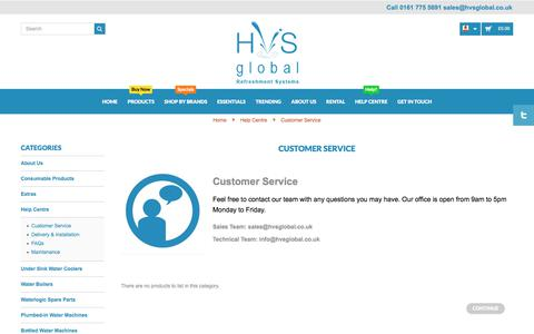 Screenshot of Support Page hvsglobal.co.uk - Customer Service - captured Sept. 26, 2018