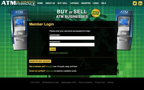 Screenshot of Login Page atmbusinessforsale.com - Login | ATM Business for Sale | Sell ATM Portfolio Options Online - captured Oct. 2, 2018