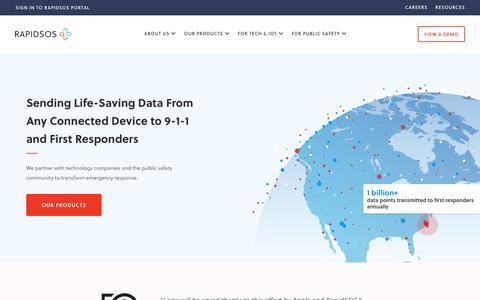Screenshot of Home Page rapidsos.com - Home - RapidSOS: Emergency Technology to Save Lives - captured Nov. 6, 2019