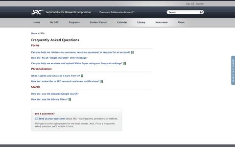 Screenshot of FAQ Page src.org - SRC Frequently Asked Questions - SRC - captured Oct. 3, 2014