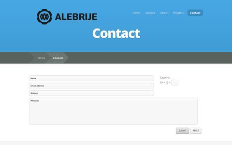 Screenshot of Contact Page alebrije-estudios.com - Contact | Alebrije - captured Sept. 30, 2014