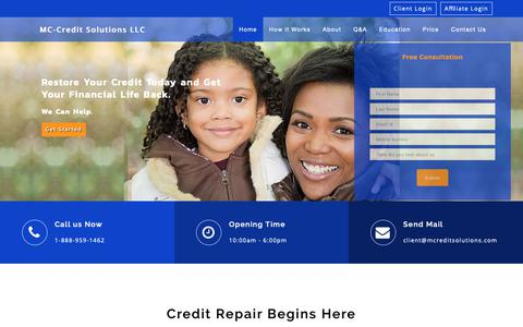 Screenshot of Home Page mccreditsolutions.com - MC-Credit Solutions LLC - captured Oct. 23, 2018