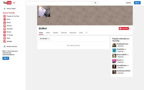 Screenshot of YouTube Page youtube.com - BidMail  - YouTube - captured Oct. 23, 2014