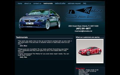 Screenshot of Testimonials Page themetics.net - Auto Body Repair Shop | Orlando, FL | The Metics | Testimonials - captured Oct. 8, 2014