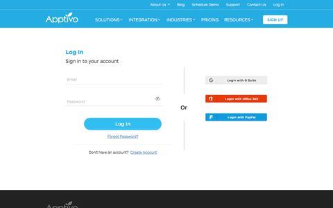 Screenshot of Login Page apptivo.com - Log in - Apptivo - captured May 16, 2018