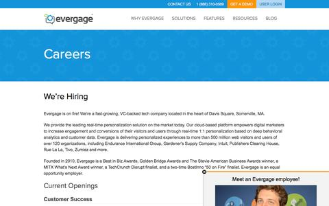 Screenshot of Jobs Page evergage.com - Evergage | Careers - captured March 1, 2016