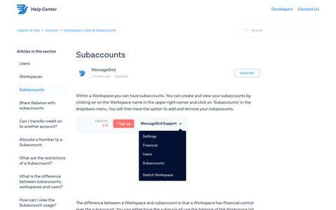 Subaccounts – Support & Help