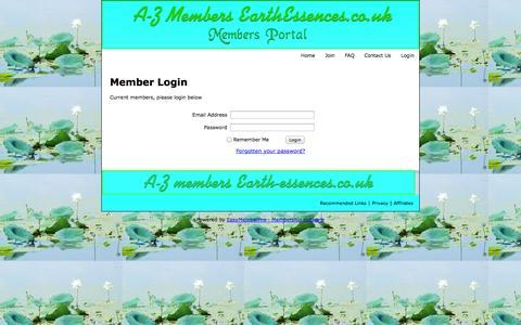 Screenshot of Login Page earthessences.co.uk captured Nov. 2, 2014