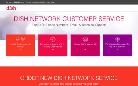 Screenshot of Support Page usdish.com - DISH Customer Service & Phone Numbers | 1-888-273-2290 - captured Oct. 10, 2018