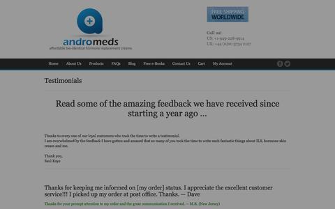 Screenshot of Testimonials Page andromeds.com - Testimonials - AndroMeds - captured Dec. 25, 2015