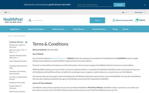 Screenshot of Terms Page healthpost.co.nz - Terms & Conditions | HealthPost NZ - captured March 1, 2018