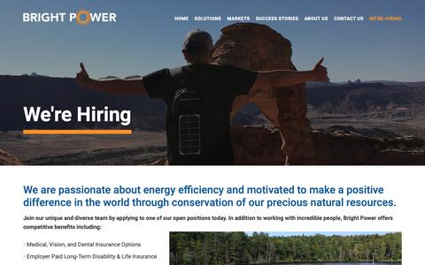 Screenshot of Jobs Page brightpower.com - We're Hiring - Bright Power - captured Feb. 11, 2019