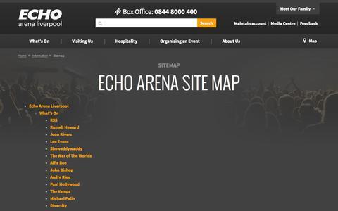 Screenshot of Site Map Page echoarena.com - Sitemap - Information   Echo Arena Liverpool - captured Oct. 1, 2014