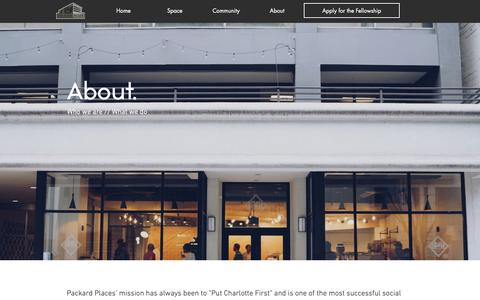 Screenshot of About Page packard.place - About | Packard Place | Charlotte, NC - captured Nov. 4, 2018