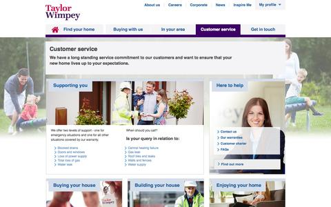 Screenshot of Support Page taylorwimpey.co.uk - Customer service |  Taylor Wimpey - captured Nov. 3, 2015