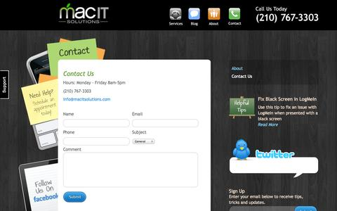 Screenshot of Contact Page macitsolutions.com - Contact | Mac IT Solutions | Apple Consultant | Mac Support | Cisco networking | Voice Over IP - captured Sept. 30, 2014