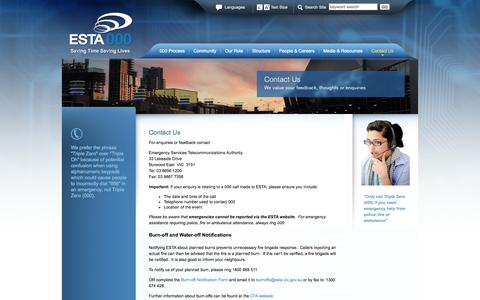 Screenshot of Contact Page esta.vic.gov.au - ESTA - Contact Us - captured Oct. 1, 2014