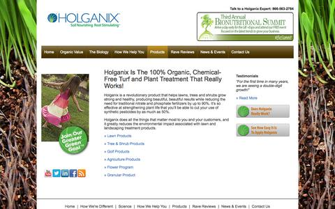 Screenshot of Products Page holganix.com - Holganix is an organic, chemical-free lawn treatment that works - captured Sept. 16, 2014