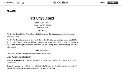 Screenshot of About Page tri-cityherald.com - About Us | Tri-City Herald - captured Sept. 23, 2018